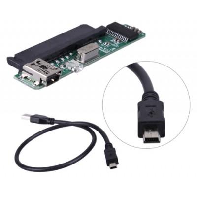 """MA6116A based Mini USB 2.0 to 2.5"""" Female SATA 7+15 Connector Adapter"""