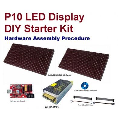 P10 Outdoor LED Display DIY Starter Kit - 64x16 Pixels - High Brightness RED