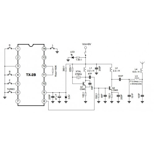2b Tx 2b Pair Rf Remote Control Ic For Rc Toy Car Dip Package