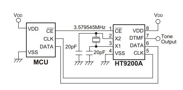 ht9200 - dtmf generator - 8-pdip