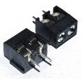 Screw Terminal Block - 2 Pin Wire to Board Connector, 5mm Pitch - 126-2 - BLACK
