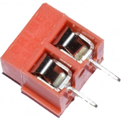 Screw Terminal Block - 2 Pin Wire to Board Connector, 5mm Pitch - 126-2 - RED