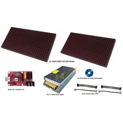 P10 Outdoor LED Display DIY Starter Kit - 64x16 Pixels - Single Color
