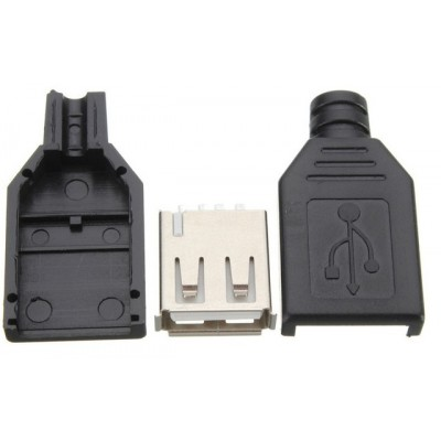 USB A type - 4 Pin Female Connector with Plastic Enclosure