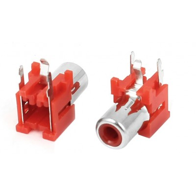 RCA-103P - Single Channel AV RCA Female Connector - PCB Mount - 3 Pin - RED Color