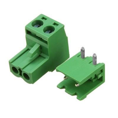 5085 Plug In Type Screw Terminal Connector - 2 Pin - 5.08mm Pitch - Set of M+F - Right Angle Male Connector