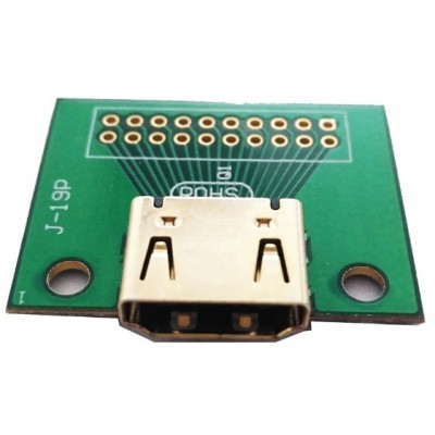HDMI Female Connector Breakout Board - 2.54mm Pitch Breakout Header