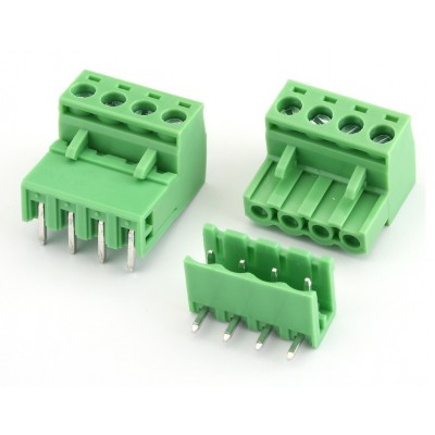 4Pin Pluggable Screw Terminal Block Connector - Right Angle - 5.08mm Pitch - 2EDG5.08 - Set of M+F