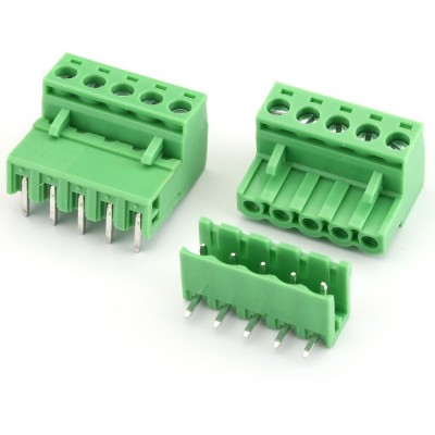 5Pin Pluggable Screw Terminal Block Connector - Right Angle - 5.08mm Pitch - 2EDG5.08 - Set of M+F