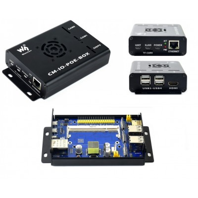 Raspberry Pi Compute Module Expansion Board with Metal Case , PoE , Cooling Fan - CM-IO-POE-BOX