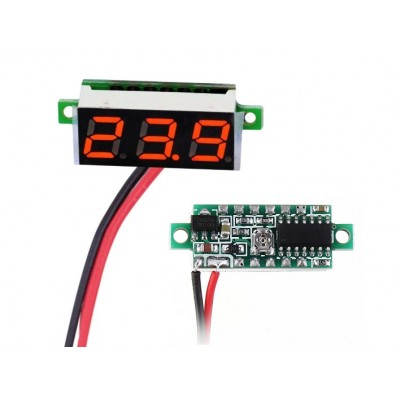 "0.28"" Mini DC voltmeter 2 Wire 2.5-30V DC RED"