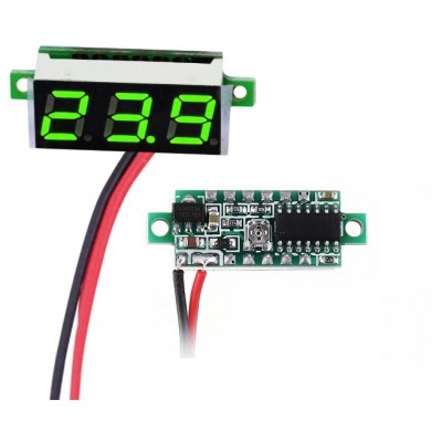 "0.28"" Mini DC voltmeter 2 Wire 2.5-30V DC GREEN"