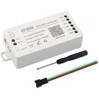 SP108E WiFi Based Addressable LED strip Driver 2048 Pixels 5-24V Operation