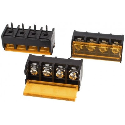 HB9500-9.5-4P 9.5mm Pitch 4-Pin Barrier Terminal Connector with Flap Cover Lid 300V 25A
