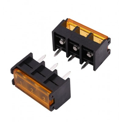HB9500-9.5-3P 9.5mm Pitch 3-Pin Barrier Terminal Connector with Flap Cover Lid 300V 25A