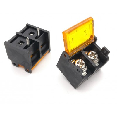 HB9500-9.5-2P 9.5mm Pitch 2-Pin Barrier Terminal Connector with Flap Cover Lid 300V 30A