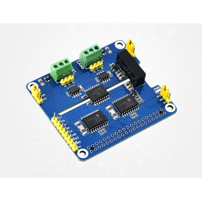 2-Channel Isolated CAN Bus Expansion HAT For Raspberry Pi, MCP2515 + SN65HVD230, Onboard Protection Circuits