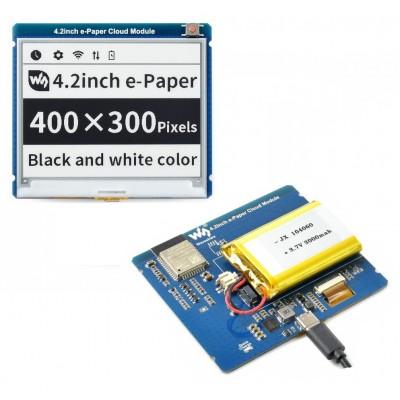 4.2inch E-Paper Cloud Module, 400×300, ESP32 WiFi Connectivity, 3000mAh Battery Included