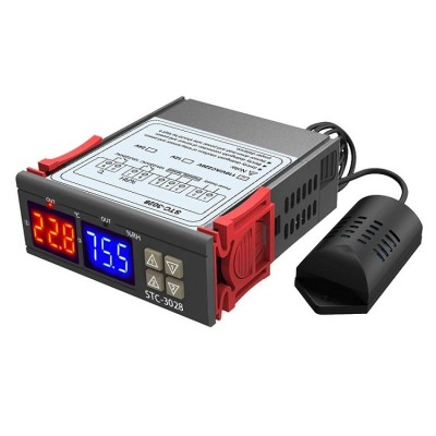 STC3028 - Temperature and Humidity Controller with Sensor Probe-  Thermostat & Hygrometer- 220V AC Input - 10A Relay