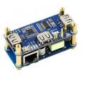PoE + Ethernet + USB HUB HAT for Raspberry Pi Zero, 1x RJ45, 3x USB, 802.3af-Compliant
