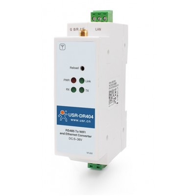 USR-DR404 Din Rail RS485 to WiFi /  Ethernet Converter | RS485 to 802.11 a/b/g/n WLAN Serial Device Server
