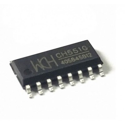 CH551G - E8051 Core MCU - 32MHz - 16KB Flash - USB Device - 8Bit ADC - UART - SOP16